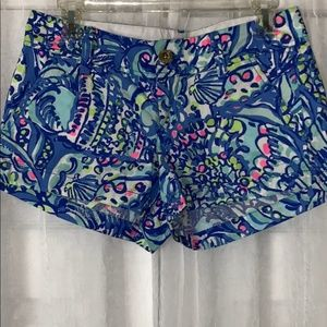 Lily Pulitzer Blue Multi Color The Walsh Shorts 0